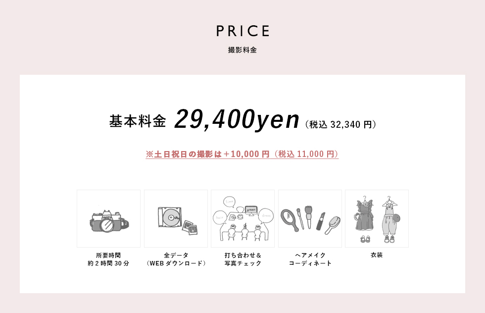 PRICE撮影料金